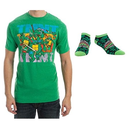 Teenage Mutant Ninja Turtles Mens' Rampage Tee & 1 Pair Socks - 2 Piece Set (Tmnt Socks)