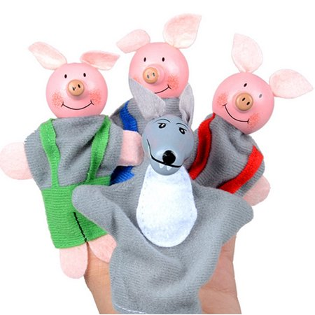 4PCS Three Little Pigs And Wolf Finger Puppets Hand Puppets Christmas Gifts - Wolf Hands