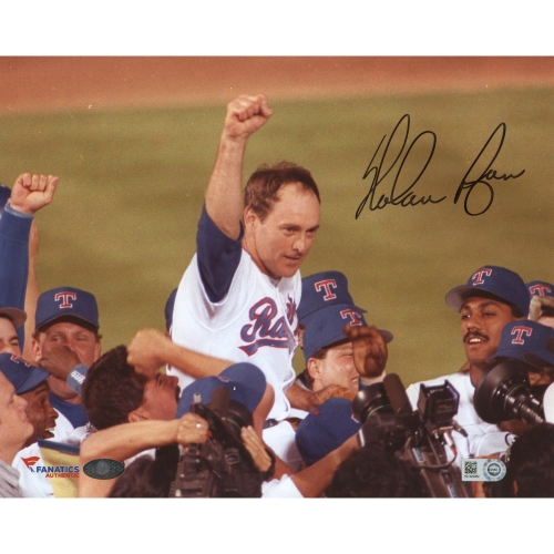 """Nolan Ryan Texas Rangers Fanatics Authentic Autographed 8"""" x 10"""" No Hitter Celebration with Arm in Air Photograph - No Size"""