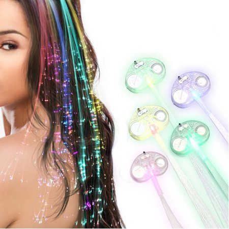 Led Multicolor Light Flashing Fiber Optic Hair Braid Barrettes For Party 5 Pcs