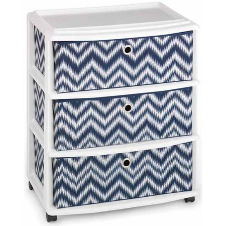 homz wide cart with 3 fabric drawers set of 1. Black Bedroom Furniture Sets. Home Design Ideas