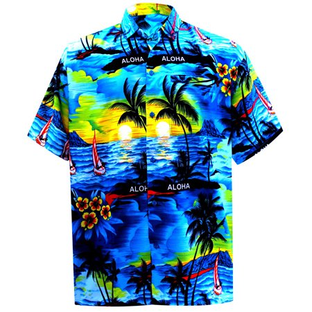 Hawaiian Shirt Mens Beach Aloha Camp Party Holiday Button Down Pocket Scenic Print B