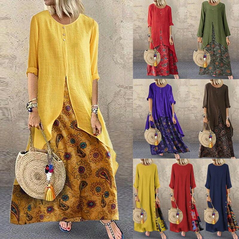 Womens Leopard Print Dress Baggy Long Tops Mini Tunic Dress Loose Fit Sundress
