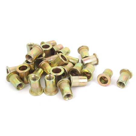 M6x15mm Metric Zinc Plated Flat Head Blind Rivet Nut  Insert Nutsert 30pcs ()