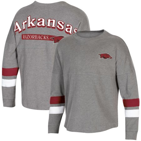 Women's Heathered Charcoal Arkansas Razorbacks Fan Oversized Long Sleeve T-Shirt (Razorback Bowl Shirt)
