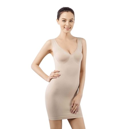 Full Body Nude Suit (MD Women's Firm Control Shapewear Full Body Shaping Control Slip Seamless Smoother Slip Under Dresses Nude)