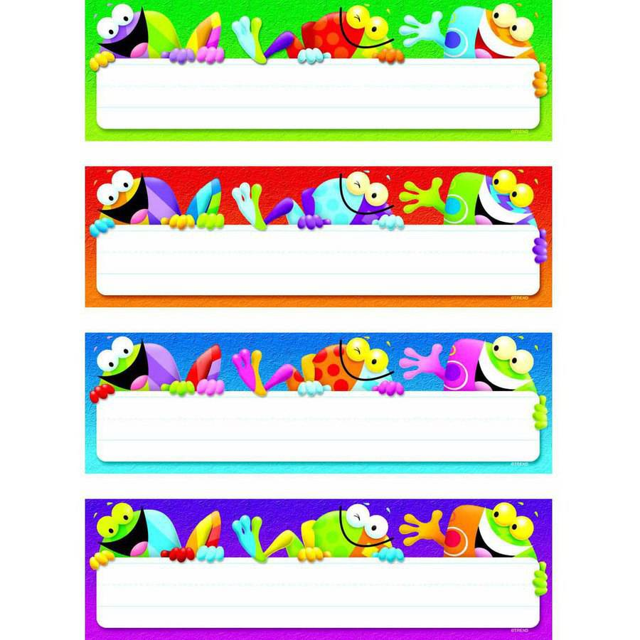 "Trend Enterprises Frog-tastic! Desk Toppers Name Plates Variety Pack, 2.87"" x 9.5"", 32pk"