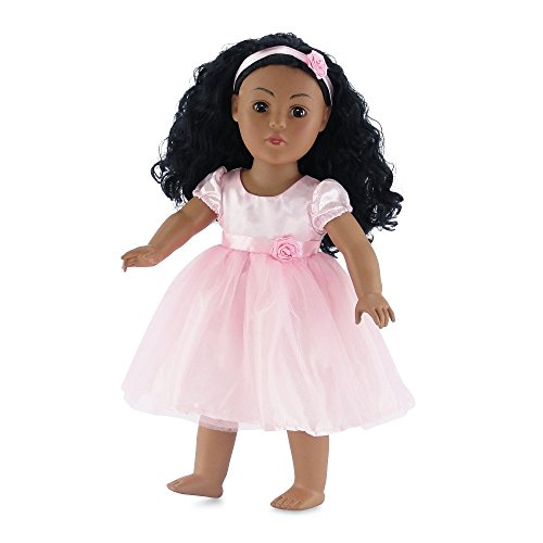 18 Inch Doll Clothes | Pink Flower Girl Tutu Dress, Includes Matching Rosette Headband | Fits American Girl Dolls