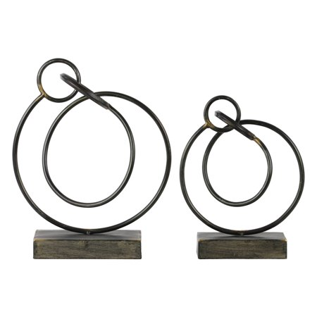 Urban Trends 2 Piece Metal Ring Abstract Sculpture -