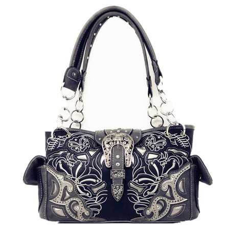Western Rhinestone Conceal Carry Buckle Floral Concho Laser Cut Shoulder Handbag