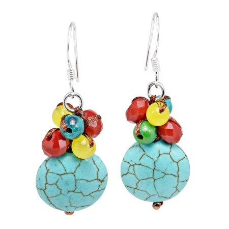 Stylish Circular Green Turquoise Stone & Colorful Bead Cluster Dangle Earrings