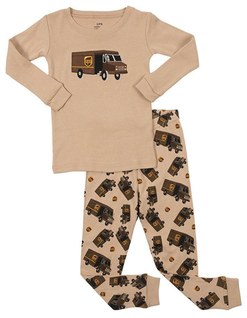 Leveret Boys UPS 2 Piece Pajama Set 100% Cotton Green 3 Toddler