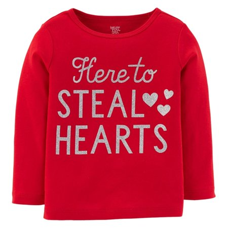 Carters Infant & Toddler Girls Red Here to Steal Hearts Valentines Day T-Shirt (Valentines Carters Shirt)