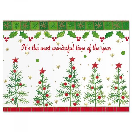 Whimsy Trees Christmas Card - Set of 18