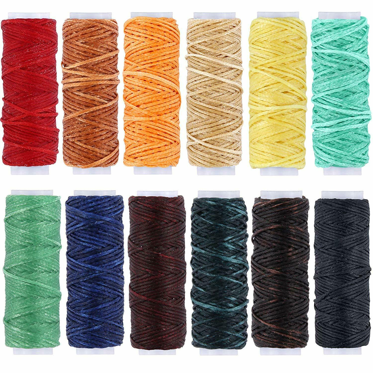 12 Colors 150D Leather Sewing Waxed Thread Cord for Leather Craft DIY 1mm Diame