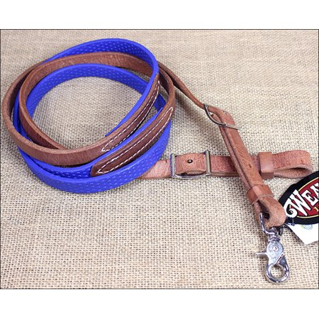 BLUE 8ft WEAVER LEATHER BARREL PLEASURE REIN WITH RUBBER GRIP HORSE