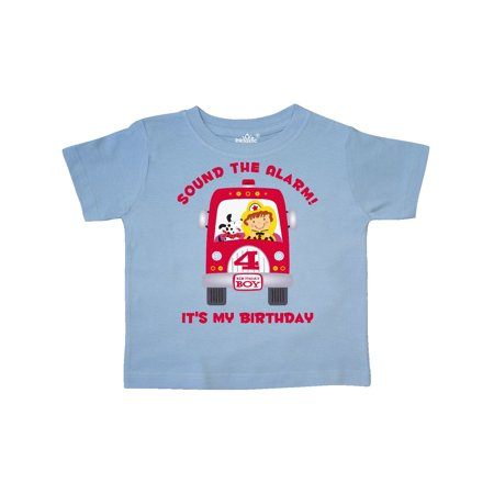 Fire Truck 4th Birthday Boy Toddler T Shirt