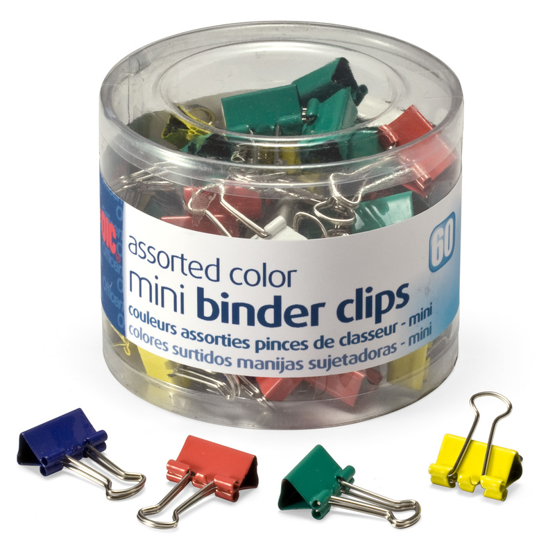 Officemate Mini Binder Clips, Assorted Colors, 60 Clips per Tub (31024)