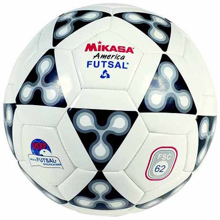 - Mikasa America Futsal Synthetic Leather Indoor Official Soccer Ball, Size 4, White, Black and Gray