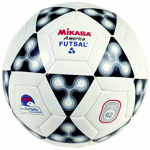 Mikasa America Futsal Synthetic Leather Indoor Official Soccer Ball, Size 4, White, Black and Gray