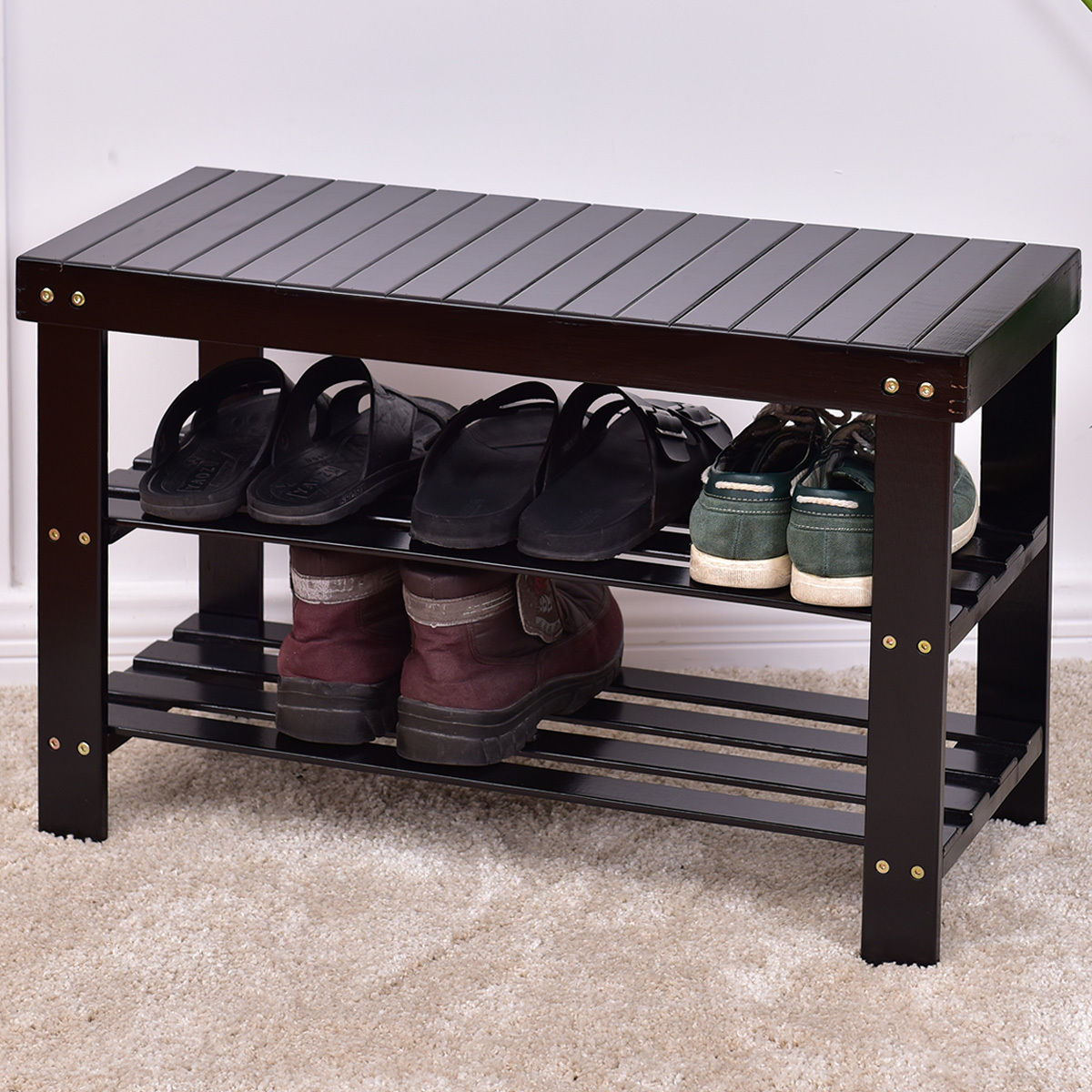 Costway 3 Tier Bamboo Shoe Rack Bench Storage Shelf Organizer Entryway Home  Furni Black