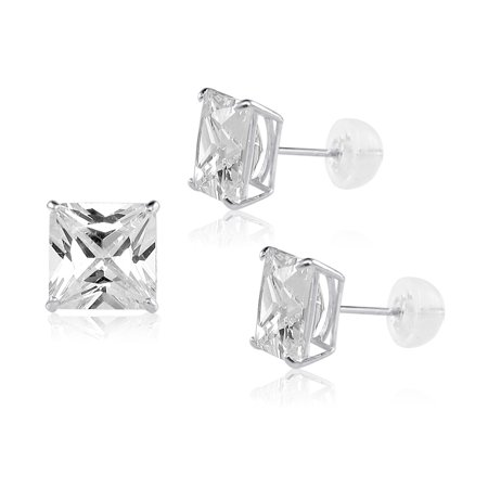 10x10mm Square Princess Cut White Cubic Zirconia 14K White Gold Basket Set Solitaire Stud Earrings