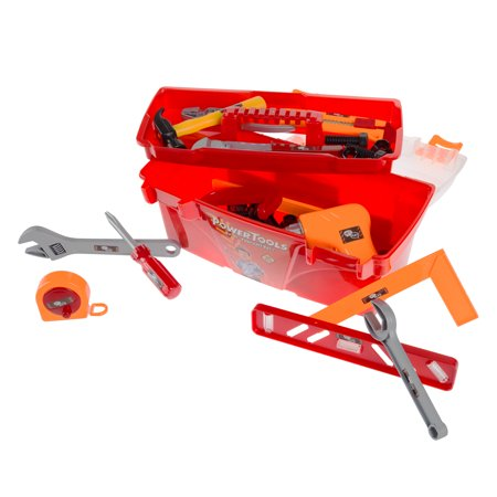 40-Piece Toy Tool Box Set-Pretend Play Construction Handyman Set for Boys and Girls-Includes Hammer, Screwdrivers, Drill, Bolts and More by Hey! (Play Hamper)
