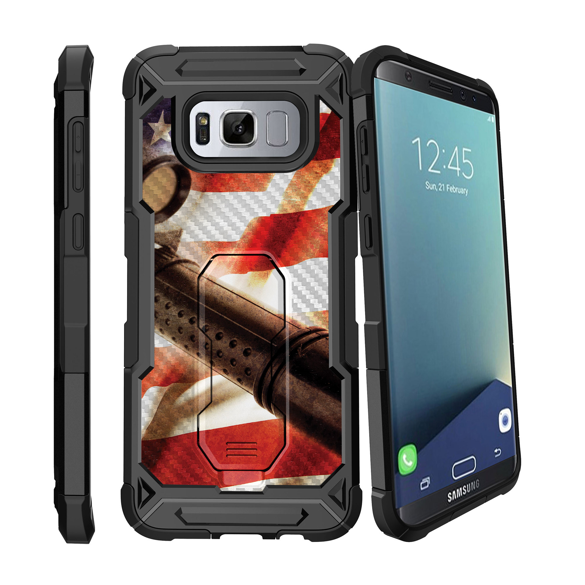 Case for Samsung Galaxy S8 Plus Version [ UFO Defense Case ][Galaxy S8 PLUS SM-G955][Black Silicone] Carbon Fiber Texture Case with Holster + Stand FireArm Collection