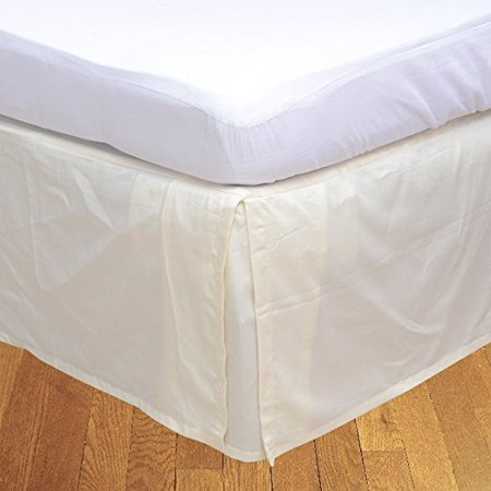 """The Great American Store Multiple Sizes & Colors Pleated Bed Skirt with 15"""" Tailored Drop, (Expanded Queen, Solid Ivory) 600 Thread Count 100% Cotton - Covers Bed Legs and Frame"""