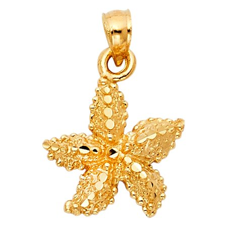 Gold Starfish Charm - Cute Fancy Starfish 14k Yellow Solid Italian Gold Charm Polished 1/2 inch Pendant Necklace Fine Jewelry Gift Idea