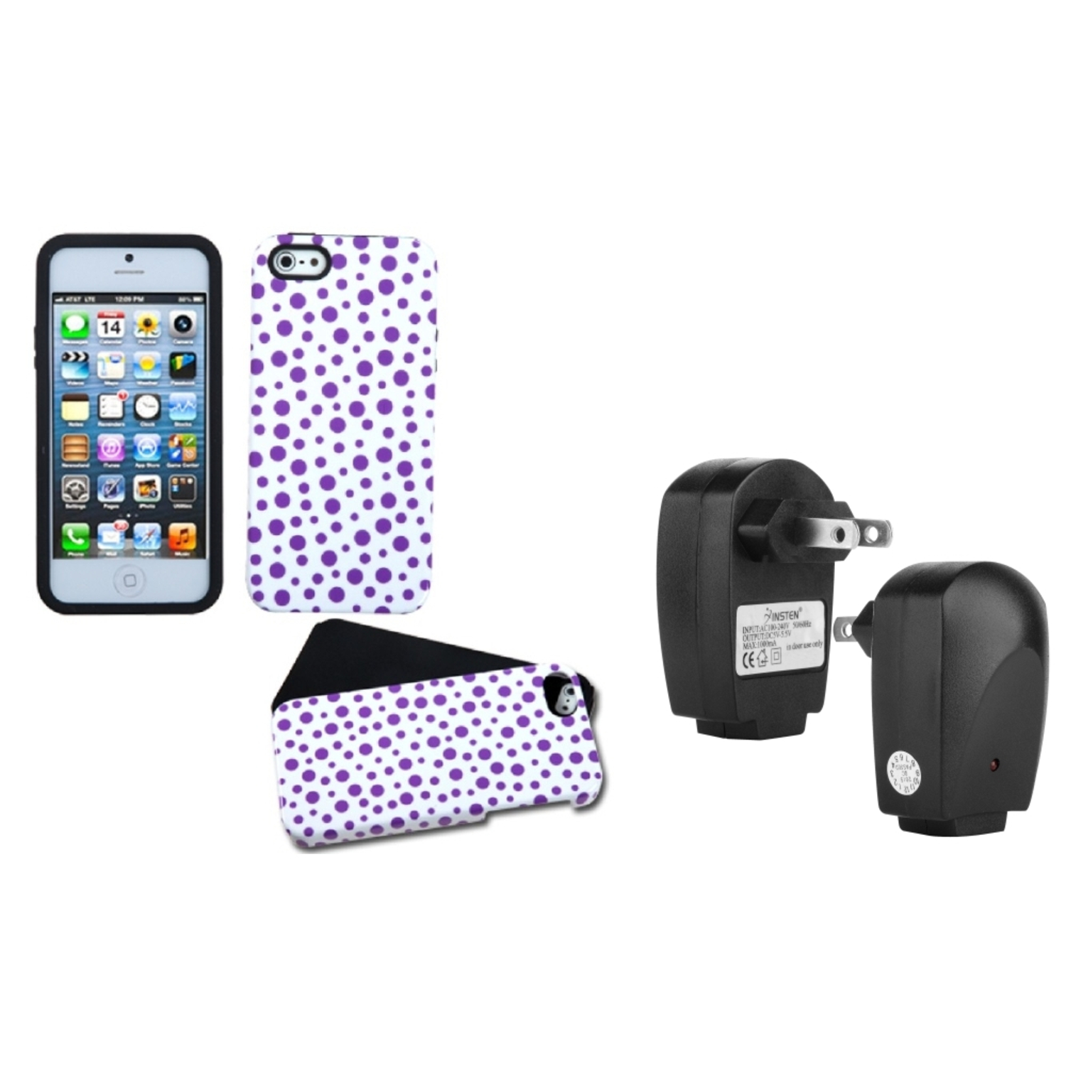 Insten Purple Mixed Polka Fusion Case For i5 + USB Travel Charger Adapter for iPhone 5s