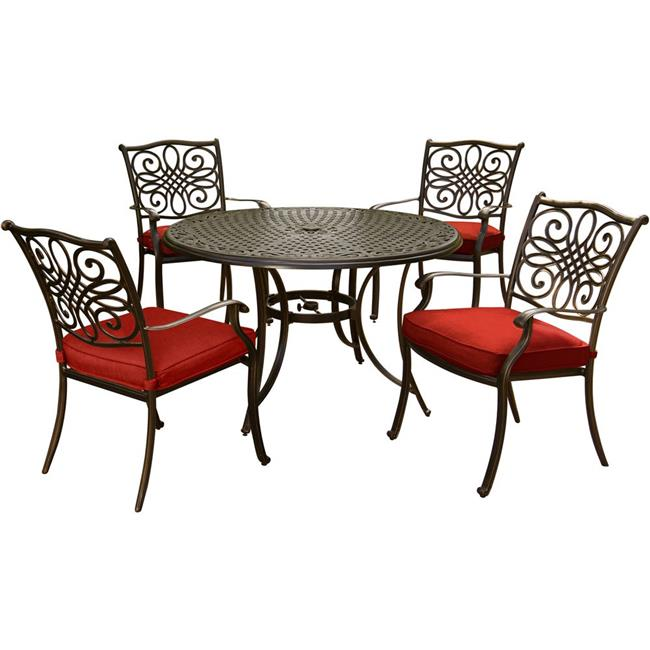 48 in. Traditions Dining Set with Cast-Top Table & Four Dining Chairs, Red - 5 Piece