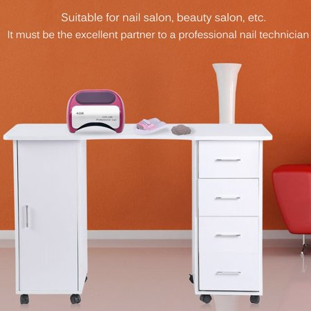 Movable White Beauty Manicure Table Station Desk Nail Salon ...