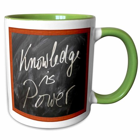 3dRose Chalk board with Knowledge slogan a great teacher or student gift - Two Tone Green Mug, (Gift For Teacher From Student On Teachers Day)