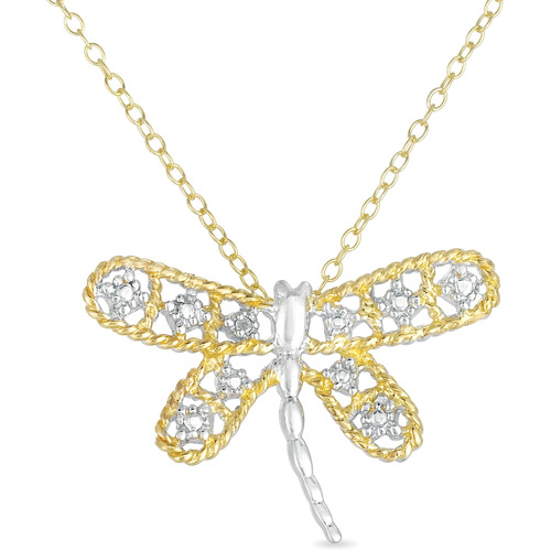 Diamond-Accent 18kt Gold-Plated and Sterling Silver Dragonfly Pendant, 18""