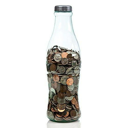 Coca-Cola Coke Bottle Bank for Saving and Storing Coins and Paper Money for Adults or Children Small 12 Inch Coin Bank