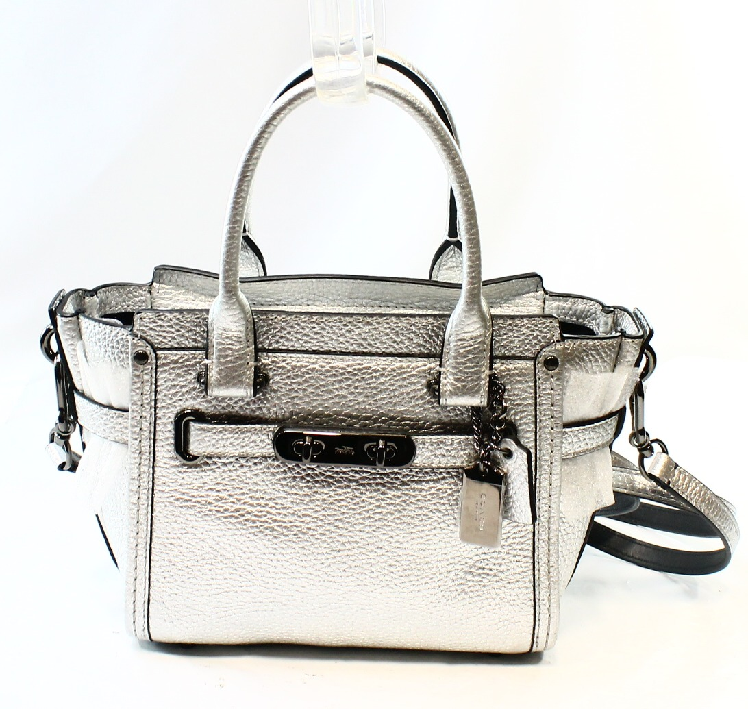 Coach NEW Silver Nickel Swagger Carryall Shoulder Satchel Bag Purse