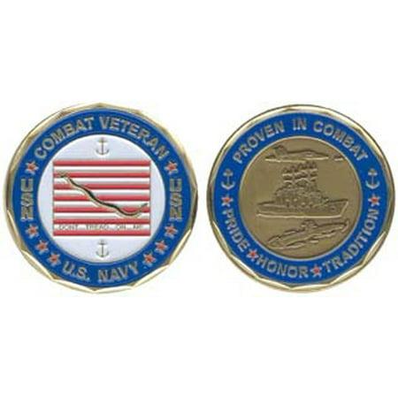 U.S. Navy 'Proven in Combat' Combat Veteran 1-1/8 Inch Challenge Coin War Veteran Challenge Coin