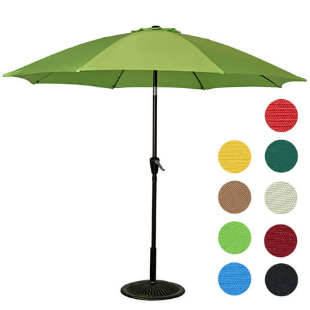 Sundale Outdoor 9 Feet Aluminum Patio Umbrella with Crank and Push Button Tilt, 8 Fiberglass Ribs