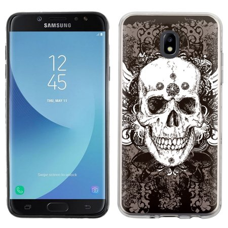 For Samsung Galaxy J7 Crown / J7 Aura Case, OneToughShield ® TPU Gel Protective Slim-Fit Phone Case - Grunge Skull
