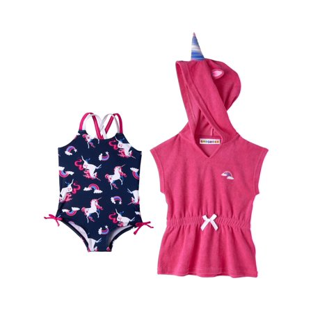 WIPPETTE KIDS Unicorn Swimsuit & Coverup (Baby Girls & Toddler Girls) - Toddler Swimsuits For Girls