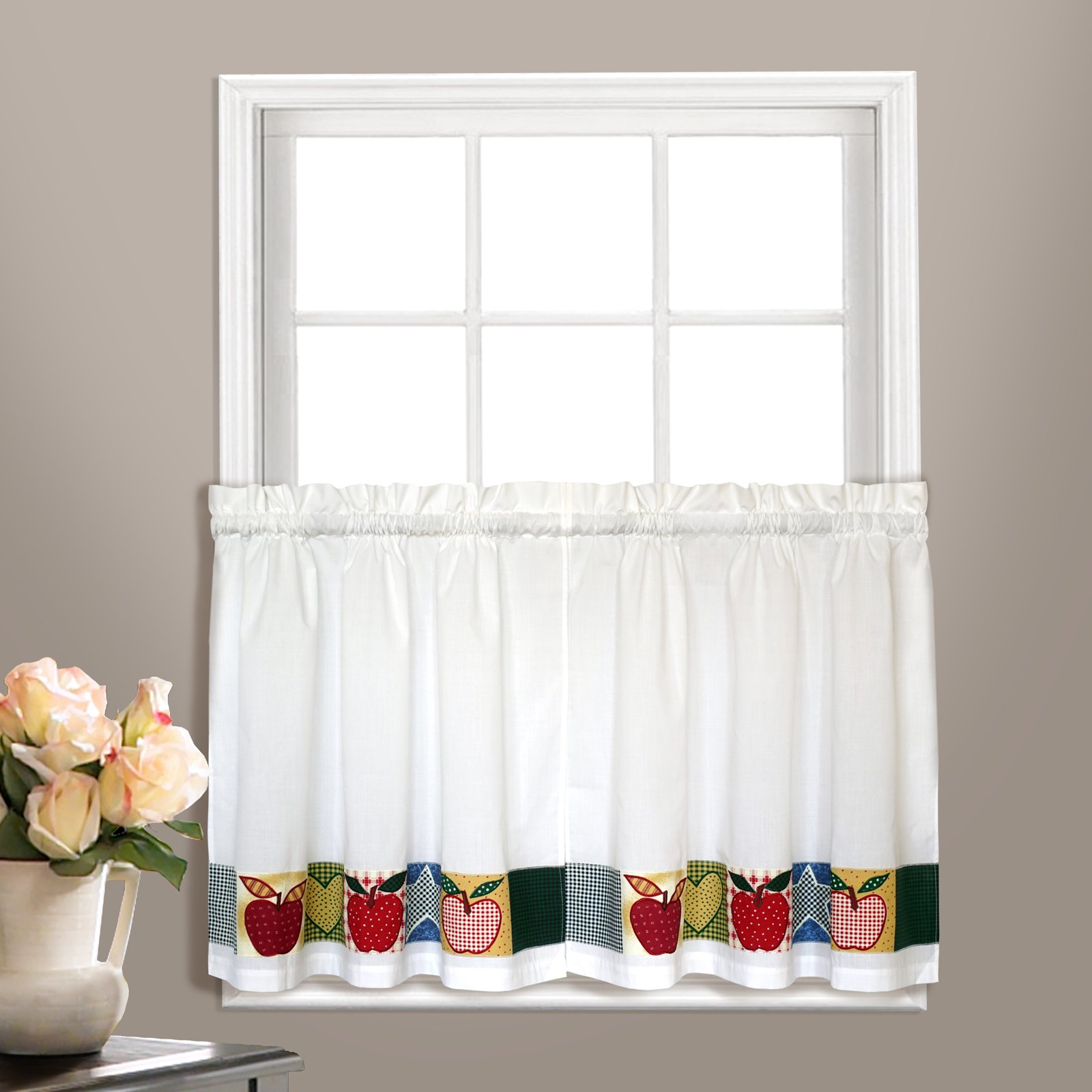 "APPLETON 55"" x 24"" WINDOW CURTAIN CAFE KITCHEN TIER PAIR Multi"