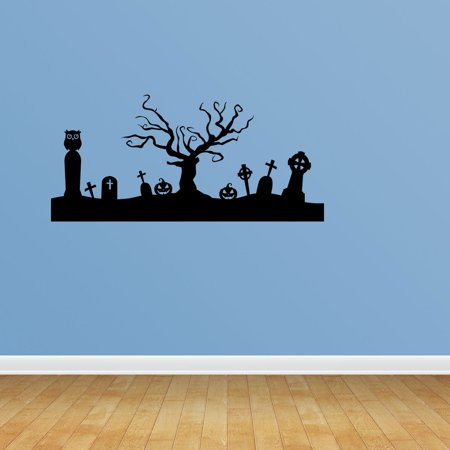 Wall Decal Quote Halloween Scene Tree Decal Cemetery Headstone Halloween Decorations Swirl Decal Sticker Holiday Wall Art JP660 - Work Related Halloween Quotes