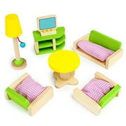 """Imagination Generation Luxurious Living Room Colorful Wooden Dollhouse Furniture for 2-4"""" Dolls"""