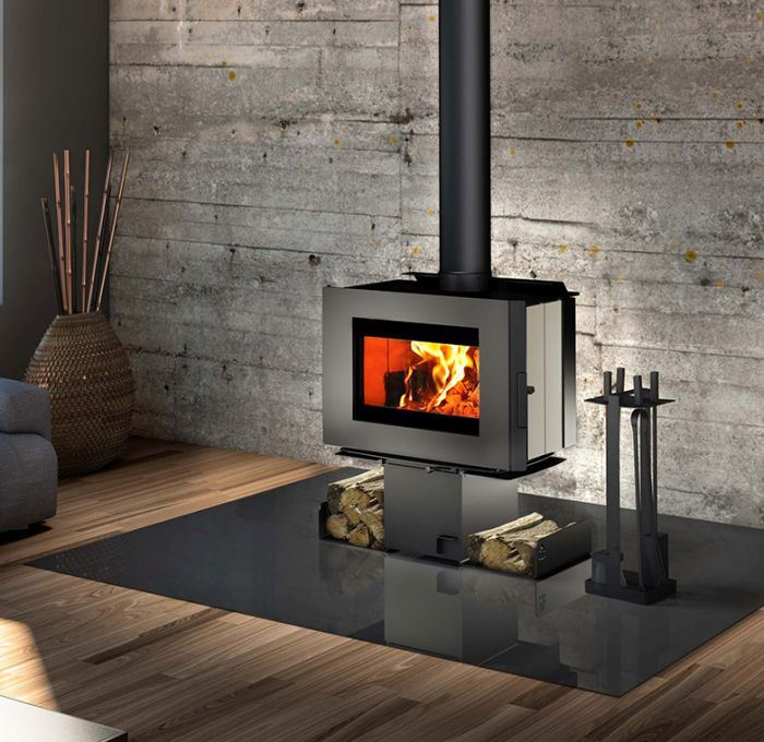 Soho Wood Stove w/Creme Enameled Side Panels and Two Sided Pedestal