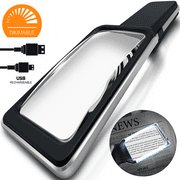 [Rechargeable] 4X Magnifying Glass with [10 Anti-Glare & Fully Dimmable LEDs]-Evenly Lit Viewing Area-The Brightest & Best Reading Magnifier for Small Prints, Low Vision Seniors, Macular Degeneration