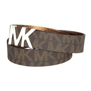 Michael Kors Signature Logo Belt with MK Logo Plaque Brown - Extra Large