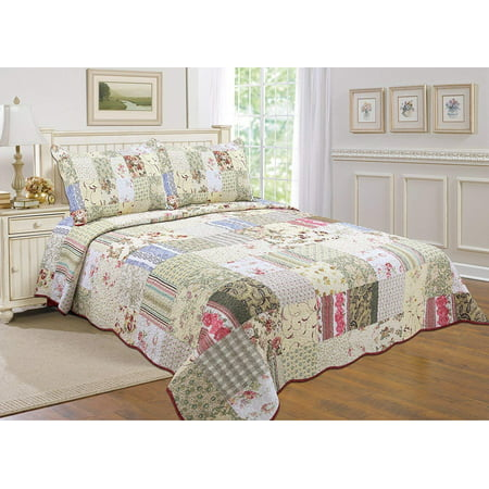 "All for You 100% COTTON 3-piece Reversible Bedspread/ Coverlet / Quilt Set- OverSize-Real patchwork (Full/Queen 100""x105"" oversized)"