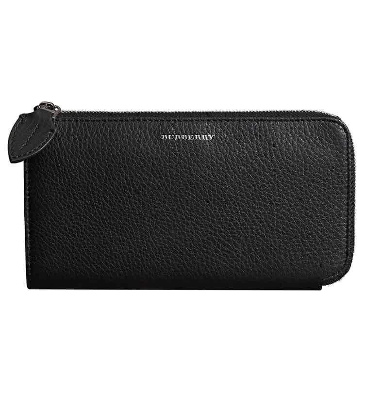 Burberry Two-tone Leather Ziparound Wallet and Coin Case