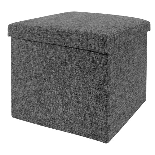 Seville Classics Foldable Storage Foot Stool Cube Ottoman